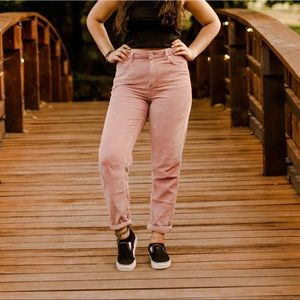Pink corduroy mom jeans from urban outfitters